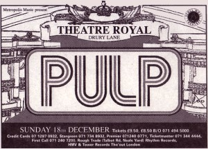 Pulp advert for London Theatre Royal