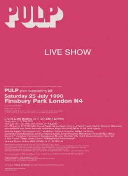 Advert for Pulp at Finsbury Park, 25 July 1998