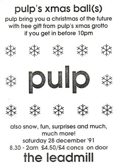 Flyer for Pulp concert at the Sheffield Leadmill, 28 December 1991