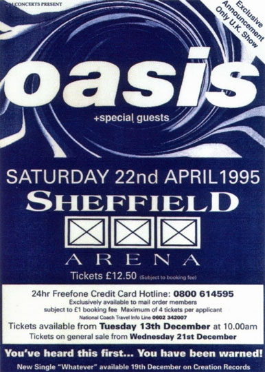Flyer for Oasis at Sheffield Arena 22 April 1995