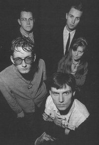 Pulp in 1987, l-r: Jarvis, Nick, Russell, Candida and Steven Havenhand