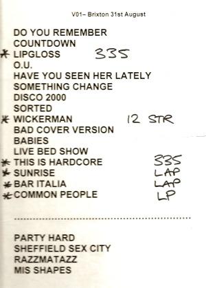 Pulp setlist ticket for Brixton Academy, 31 August 2011