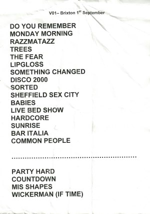 Pulp setlist for Brixton Academy, 1 September 2011