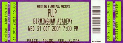 Pulp ticket Birmingham Academy, 31 October 2001