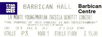 Pulp concert ticket for Barbican Hall, 31 October 1997