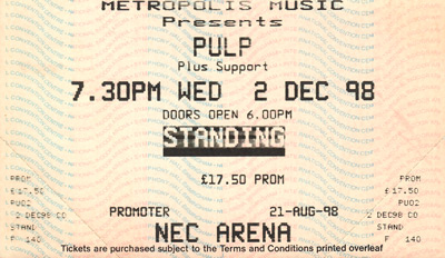 Pulp concert ticket for Birmingham NEC, 2 December 1998