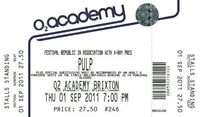 Pulp concert ticket for Brixton Academy, 31 August 2011