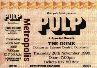 Pulp ticket for Doncaster Dome, 26 November 1998