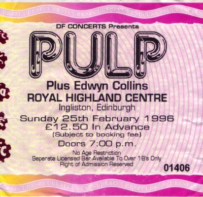 Pulp ticket for Edinburgh Royal Highland Centre, 25 February 1996