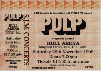 Pulp ticket for Hull Arena, 28 November 1998
