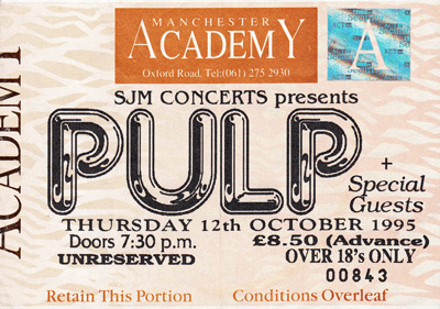 Pulp ticket for Manchester Academy, 12 October 1995