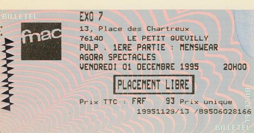 Pulp ticket for Rouen Exo 7, 1 December 1995