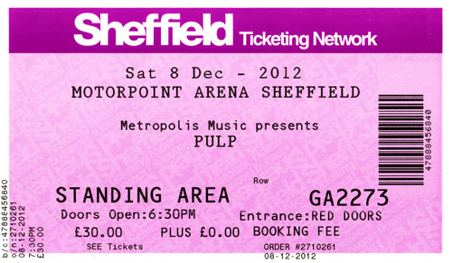 Pulp ticket for Sheffield Arena, 8 December 2012