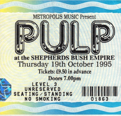 Pulp ticket for Shepherds Bush Empire, 19 October 1995