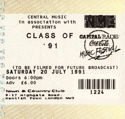 Pulp ticket for London Town & Country Club, 20 July 1991