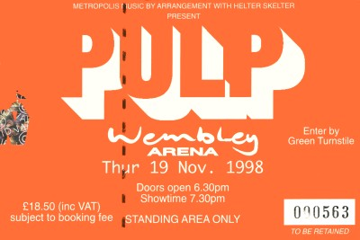 Pulp concert ticket for Wembley Arena, 19 November 1998