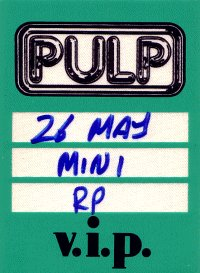 Backstage pass for Pulp at Minneapolis, 26 May 1996