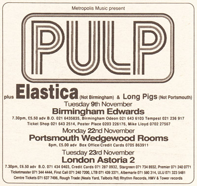 Advert for Pulp at the London Astoria, 23 November 1993