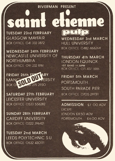Saint Etienne and Pulp on tour, February 1993