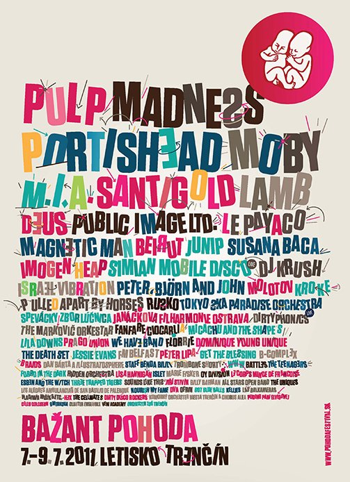 Advert for Pulp at the Pohoda Festival, 8 July 2011
