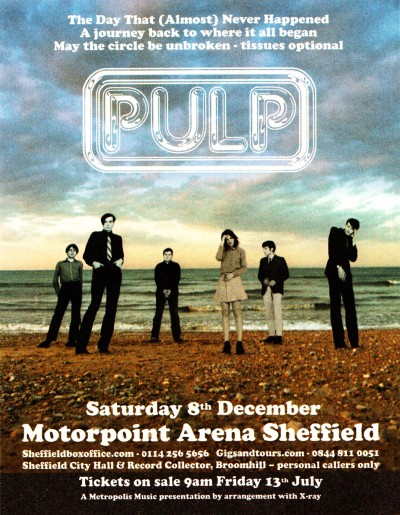 Advert for Pulp at Sheffield Arena, 8 December 2012