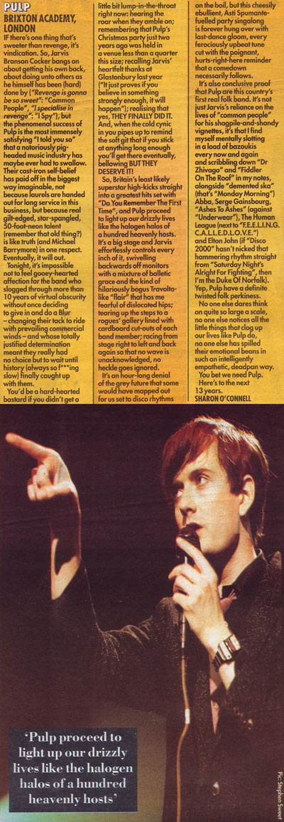 Melody Maker review of Pulp at Brixton Academy, December 1995