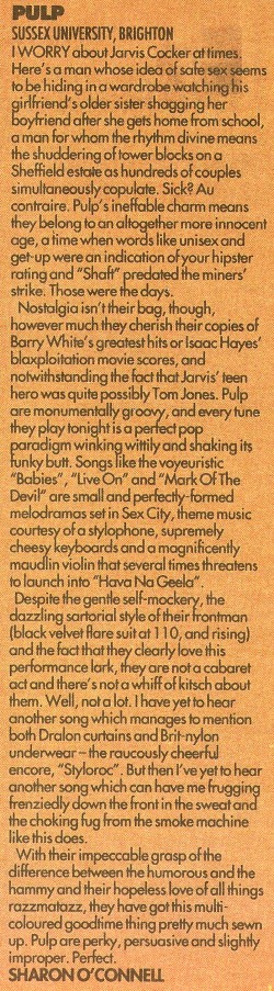 Melody Maker review of Pulp at Brighton Sussex University, 7 October 1992
