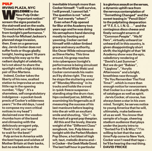 Melody Maker review of Pulp at the Irving Plaza, 3 June 1996