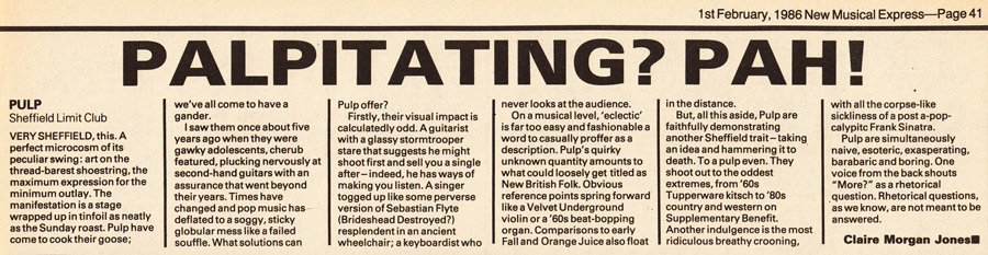 NME review of Pulp at the Sheffield Leadmill, 14 January 1986