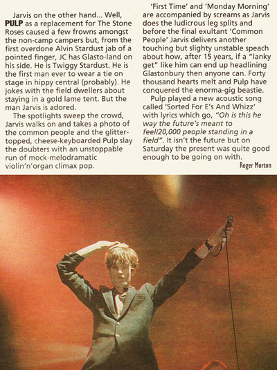 NME review of Pulp at the 1995 Glastonbury Festival