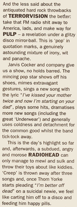 NME review for Pulp at Reading Festival, 27 August 1994