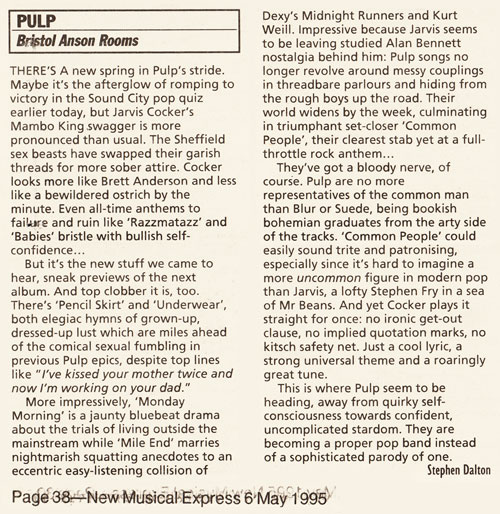 NME review of Pulp at Bristol Anson Rooms, 21 April 1995