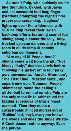 NME review of Pulp at Alexandra Palace, 7 October 1994