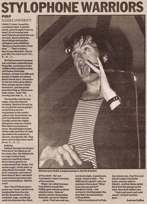 NME review of Pulp at Brighton Sussex University, 7 October 1992