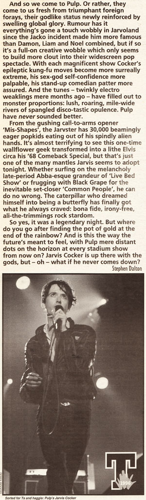 NME Review of Pulp at the T In The Park Festival, 14 July 1996