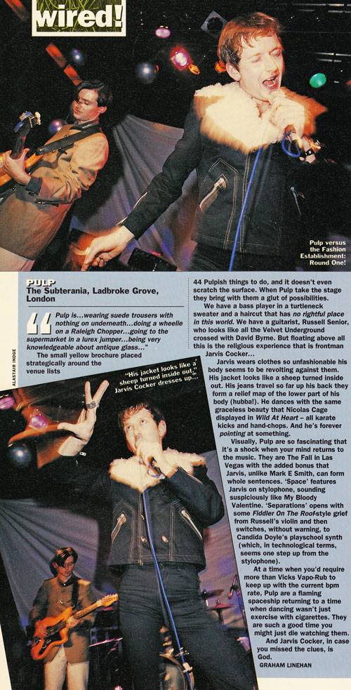 Select review of Pulp at London Subterania, 15 November 1991